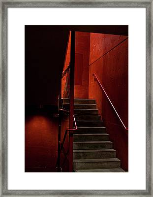Red Stairs Framed Print by Elena Nosyreva