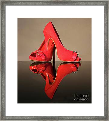 Framed Print featuring the photograph Red Stiletto Shoes by Terri Waters