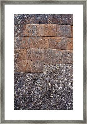 Red Stone Bricks Framed Print by Marcus Best