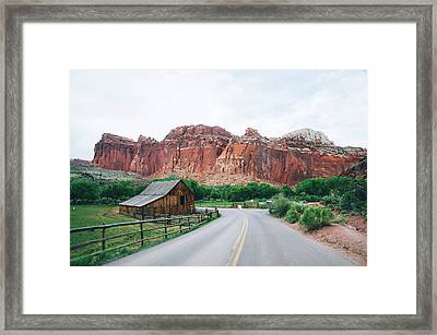 Red Stone Mountain  Framed Print by Happy Home Artistry
