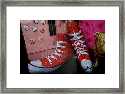 Red Stuffed Whimsical High Tops Framed Print by Shirley Stevenson Wallis
