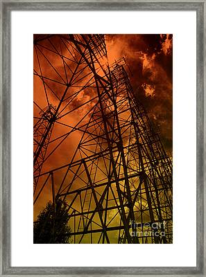 Red Sun Oil Well Framed Print