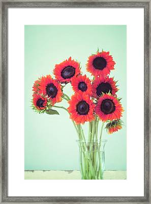 Framed Print featuring the photograph Red Sunflowers by Amy Tyler