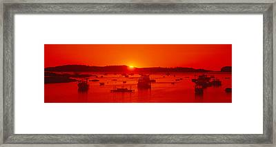 Red Sunrise At Lobster Village Framed Print by Panoramic Images