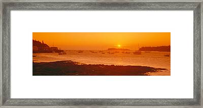 Red Sunrise At Lobster Village, Tenants Framed Print by Panoramic Images