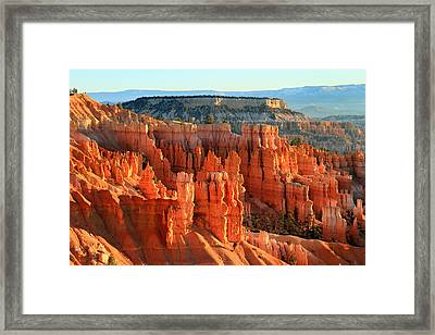 Red Sunrise Glow On The Hoodoos Of Bryce Canyon Framed Print by Pierre Leclerc Photography