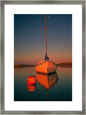Red Sunrise Reflections On Sailboat Framed Print