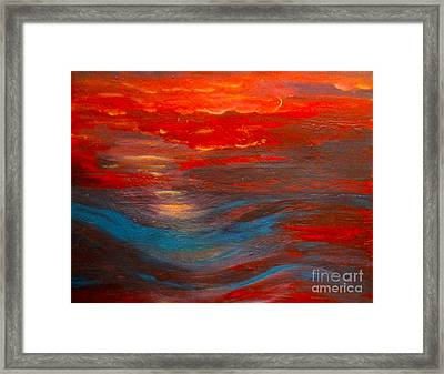 Red Sunset Abstract  Framed Print by Nancy Rucker