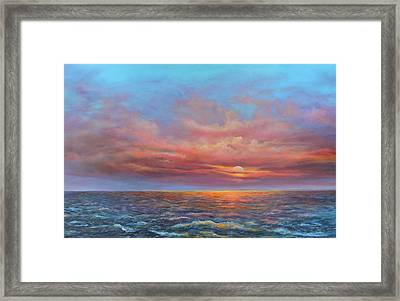 Red Sunset At Sea Framed Print
