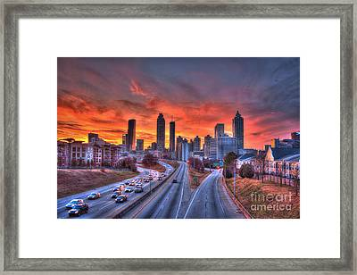 Red Sunset Atlanta Downtown Cityscape Framed Print by Reid Callaway