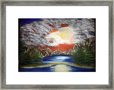 Red Sunset Framed Print by Suzanne Surber