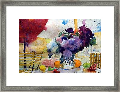 Red Sunshade And  Bouquet Framed Print