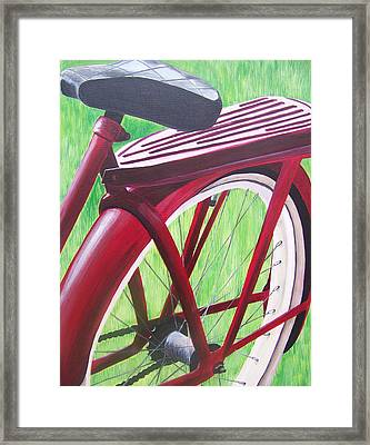 Red Super Cruiser Bicycle Framed Print by Charlene Cloutier