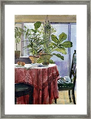 Red Table Cloth Framed Print