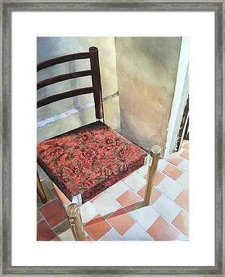 Red Tapestry Chair Framed Print