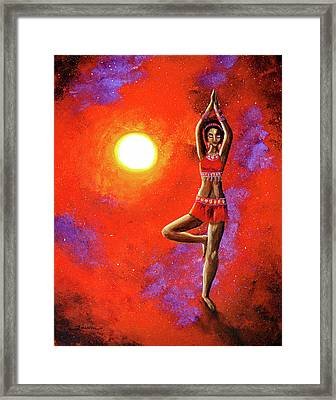 Red Tara Yoga Goddess Framed Print by Laura Iverson