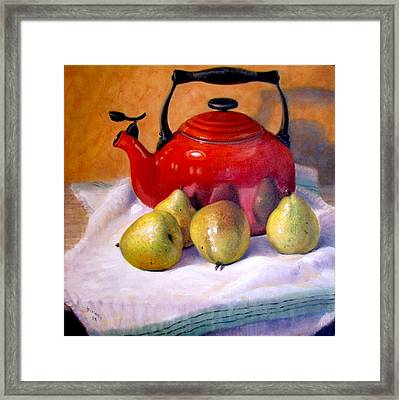 Framed Print featuring the painting Red Teapot And Pears by Donelli  DiMaria