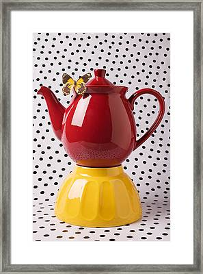 Red Teapot With Butterfly Framed Print by Garry Gay