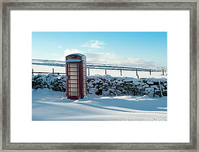 Red Telephone Box In The Snow V Framed Print