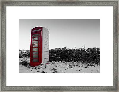 Red Telephone Box In The Snow Vi Framed Print