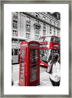 Red Telephone Box With Red Bus In London Framed Print