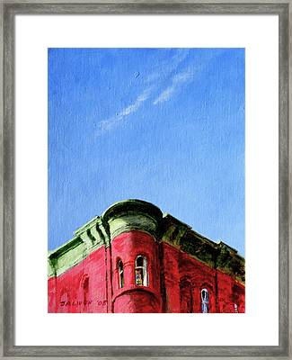 Red Tenement Framed Print by Peter Salwen