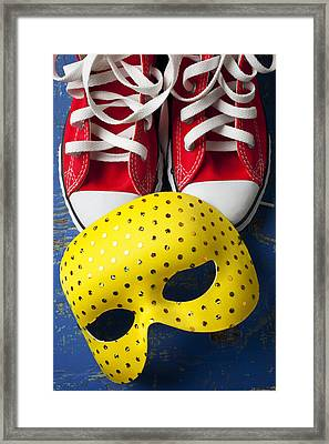 Red Tennis Shoes And Mask Framed Print