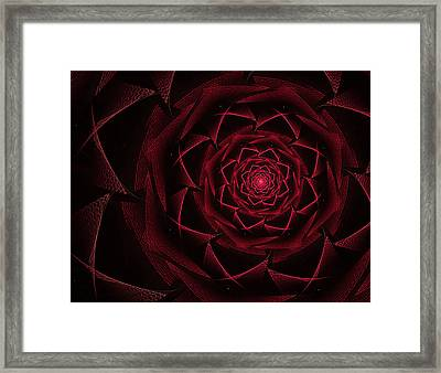 Red Textile Rose Framed Print