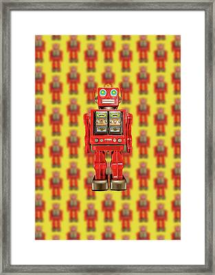 Framed Print featuring the photograph Red Tin Toy Robot Pattern by YoPedro