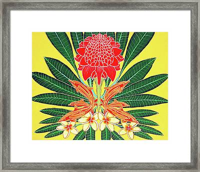 Red Torch Ginger Framed Print by Debbie Chamberlin