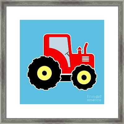 Red Toy Tractor Framed Print by Gaspar Avila