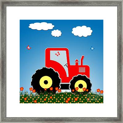 Red Tractor In A Field Framed Print by Gaspar Avila
