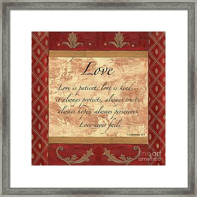 Red Traditional Love Framed Print by Debbie DeWitt