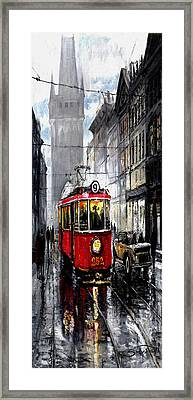 Red Tram Framed Print
