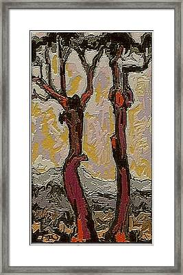 Framed Print featuring the digital art Red Trees Rt2 by Pemaro
