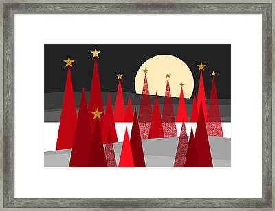 Red Trees With Stars Framed Print