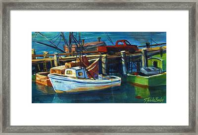 Red Truck On Old Morro Bay Pier Framed Print by Therese Fowler-Bailey
