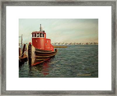Red Tugboat Framed Print by Joan Swanson