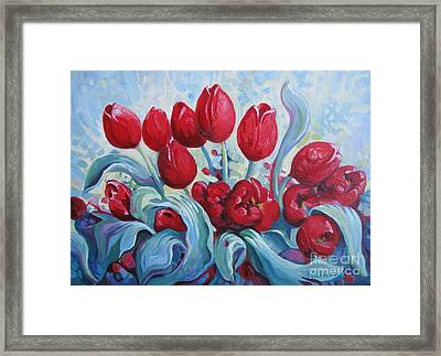 Framed Print featuring the painting Red Tulips by Elena Oleniuc