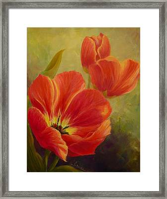 Red Tulips Framed Print by Irene Hurdle