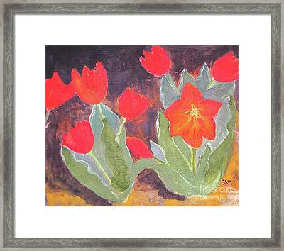 Framed Print featuring the painting Red Tulips by Sandy McIntire