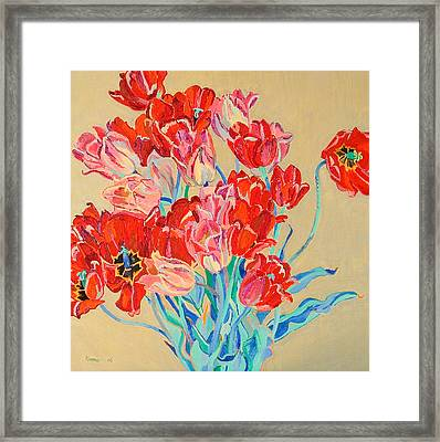 Red Tulips With Gold Background Framed Print by Vitali Komarov