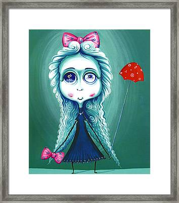 Red Umbrela - Girl With Big Eyes And Red Umbrella - Unusual Art Framed Print by Tiberiu Soos