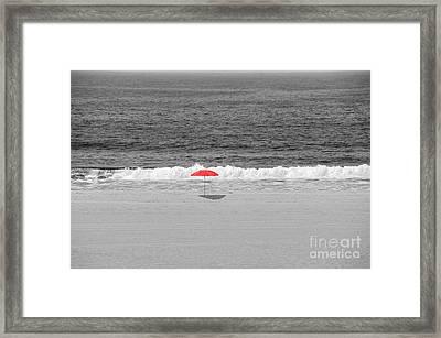 Red Umbrella All Alone Bw Framed Print by David Zanzinger
