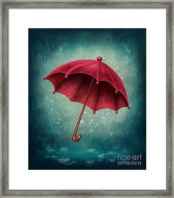 Red Umbrella  Framed Print by Elena Schweitzer