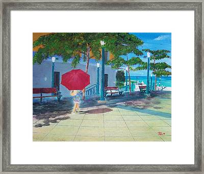 Red Umbrella In San Juan Framed Print by Tony Rodriguez