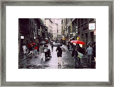 Red Umbrella In The Rain Framed Print by Richard Danek