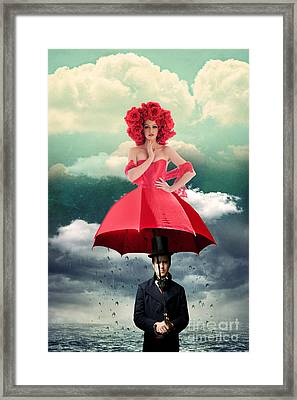 Red Umbrella Framed Print by Juli Scalzi