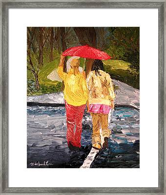 Red Umbrella Framed Print by Michael Lee