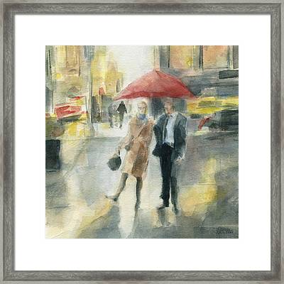 Red Umbrella New York City Framed Print by Beverly Brown